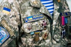 Kyiv/Ucrânia - 08/29/2018 de Memorial Day das vítimas da guerra Russo-ucraniana Memorial Day de Ilovaisk 2014 Foto de Stock