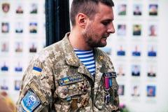 Kyiv/Ucrânia - 08/29/2018 de Memorial Day das vítimas da guerra Russo-ucraniana Memorial Day de Ilovaisk 2014 Imagens de Stock Royalty Free