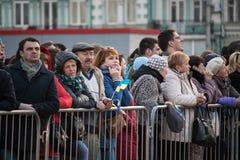Kyiv, Ucr?nia 19 de abril de 2019 Debate presidencial 2019 do A Est?dio de Kyiv Olympiyskiy imagem de stock
