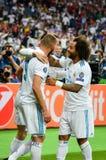 KYIV, UCRÂNIA - 26 DE MAIO DE 2018: Gareth Bale comemora o objetivo marcado fotografia de stock royalty free