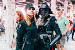 KYIV, UCRÂNIA - 9 DE SETEMBRO DE 2018: Cosplayers de Star Wars que levantam a fotos de stock royalty free