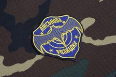 KYIV, UCRÂNIA - julho, 16, 2015 Crachá do uniforme da inteligência militar de Ucrânia Imagens de Stock