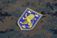 KYIV, UCRÂNIA - julho, 16, 2015 Crachá do uniforme do exército de Ucrânia Fotografia de Stock Royalty Free
