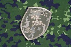 KYIV, UCRÂNIA - julho, 16, 2015 Crachá uniforme não oficial do exército de Ucrânia Fotos de Stock
