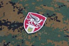 KYIV, UCRÂNIA - julho, 16, 2015 Ministério do crachá do uniforme de Ucrânia Griffon dos assuntos internos Imagem de Stock