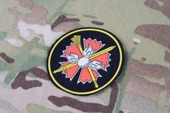 KYIV, UCRAINA - 19 agosto 2015 Distintivo principale dell'uniforme della Russia del gruppo informazioni di GRU Immagine Stock