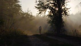 KYIV, UCRAINA - 16 AGOSTO 2015: Giri maschii maturi del ciclista attraverso la foresta di DVRZ stock footage