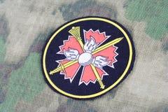 KYIV, UCRAINA - 19 agosto 2015 GRU - Distintivo principale dell'uniforme della Russia del gruppo informazioni Immagine Stock Libera da Diritti