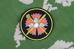 KYIV, UCRAINA - 19 agosto 2015 GRU - Distintivo principale dell'uniforme della Russia del gruppo informazioni Immagini Stock Libere da Diritti