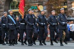 KYIV, UCRAINA - 24 AGOSTO 2016: Parata militare in Kyiv, dedicato alla festa dell'indipendenza dell'Ucraina L'Ucraina celebra ven Immagini Stock