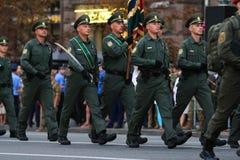 KYIV, UCRAINA - 24 AGOSTO 2016: Parata militare in Kyiv, dedicato alla festa dell'indipendenza dell'Ucraina L'Ucraina celebra ven Fotografie Stock