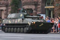 KYIV, UCRAINA - 24 AGOSTO 2016: Parata militare in Kyiv, dedicato alla festa dell'indipendenza dell'Ucraina L'Ucraina celebra ven Fotografia Stock Libera da Diritti