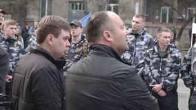 Kyiv, Ucraina 9 aprile 2019 Attivisti e sostenitori del partito politico nazionale del corpo assistere ad un raduno per richieder stock footage