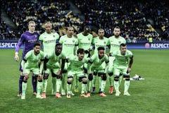 KYIV, UCRAINA - 24 FEBBRAIO 2016: Gioco della lega dell'UEFA Championes con la dinamo Kyiv e Manchester City FC Fotografie Stock