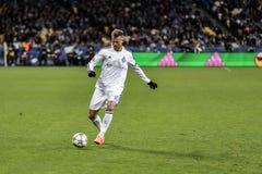KYIV, UCRAINA - 24 FEBBRAIO 2016: Gioco della lega dell'UEFA Championes con la dinamo Kyiv e Manchester City FC Immagini Stock