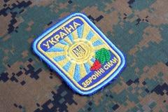 KYIV, UCRAINA - 16 luglio, 2015 Distintivo dell'uniforme dell'aeronautica dell'Ucraina Immagini Stock Libere da Diritti