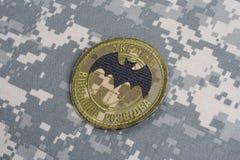 KYIV, UCRAINA - 16 luglio, 2015 Distintivo dell'uniforme di servizio segreto militare dell'Ucraina Fotografia Stock Libera da Diritti