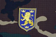 KYIV, UCRAINA - 16 luglio, 2015 Distintivo dell'uniforme dell'esercito dell'Ucraina Immagini Stock Libere da Diritti