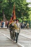 KYIV, UCRAINA - 26 maggio 2017: Cerimonia in occasione dell'estremità dell'anno accademico nel liceo militare di Kiev di Ivan Boh Fotografia Stock