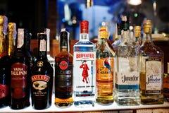 KYIV, UCRAINA - 25 MARZO 2016: Vario bott delle bevande alcoliche Fotografia Stock Libera da Diritti