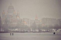Kyiv, Ucraina nella neve fredda di inverno Immagine Stock
