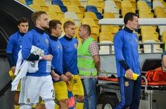 KYIV, UCRAINA - 5 SETTEMBRE 2016: Gruppo dell'ucranino dei giocatori della sostituzione Fotografia Stock