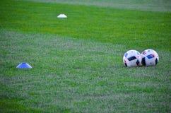 KyiV, UCRAINA - 2 settembre 2016: Lyin del pallone da calcio di due funzionari Fotografia Stock Libera da Diritti