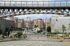 Kyiv, Ucrania, cuadrado de la independencia, la visión desde la avenida de Institutska de la calle de centenares divinos Imágenes de archivo libres de regalías