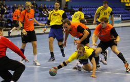 Juego Ucrania del balonmano contra Países Bajos Fotos de archivo libres de regalías