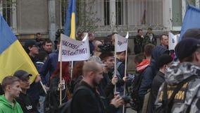 Kyiv, Ucrania 9 de abril de 2019 Los activistas y los partidarios del partido político del cuerpo nacional asisten a una reunión  metrajes