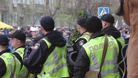 Kyiv, Ucrania 9 de abril de 2019 Los activistas y los partidarios del partido político del cuerpo nacional asisten a una reunión
