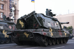 KYIV, UCRANIA - 24 DE AGOSTO DE 2016: Desfile militar en Kyiv, dedicado al Día de la Independencia de Ucrania Ucrania celebra 25t Foto de archivo libre de regalías