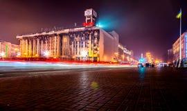 KYIV, UCRANIA - 18 DE DICIEMBRE DE 2015: Cuadrado de la independencia - el cuadrado central de Kyiv Ocurrió en 2013 los eventos p fotografía de archivo