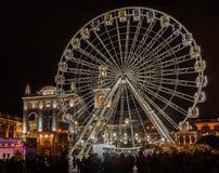KYIV, UCRANIA - 2 DE ENERO DE 2018: Noria en el Kontraktova S Fotografía de archivo