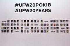 Kyiv, Ucrania - 4 de febrero de 2017: Exposición de la foto de UFW Backstag Imagen de archivo