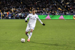 KYIV, UCRANIA - 24 DE FEBRERO DE 2016: Juego de la liga de la UEFA Championes con el dínamo Kyiv y Manchester City FC Imagenes de archivo