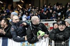 KYIV, UCRANIA - 24 DE FEBRERO DE 2016: Juego de la liga de la UEFA Championes con el dínamo Kyiv y Manchester City FC Foto de archivo
