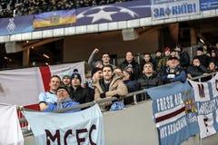 KYIV, UCRANIA - 24 DE FEBRERO DE 2016: Juego de la liga de la UEFA Championes con el dínamo Kyiv y Manchester City FC Fotos de archivo