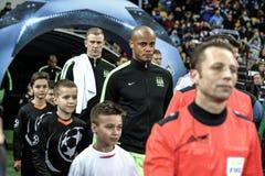 KYIV, UCRANIA - 24 DE FEBRERO DE 2016: Juego de la liga de la UEFA Championes con el dínamo Kyiv y Manchester City FC Foto de archivo libre de regalías