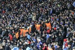 KYIV, UCRANIA - 24 DE FEBRERO DE 2016: Juego de la liga de la UEFA Championes con el dínamo Kyiv y Manchester City FC Fotografía de archivo libre de regalías