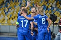 KYIV, UCRANIA - DE SEPT. EL 5 DE 2016: El equipo de fútbol de Islandia celebra a Imagen de archivo libre de regalías