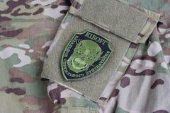 KYIV, UCRANIA - julio, 08, 2015 Insignia uniforme oficiosa del ejército de Ucrania Imagen de archivo libre de regalías