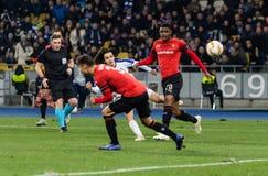 """Kyiv, Ukraina †""""Listopad 8, 2018: Mykola Shaparenko zdobywa punkty cel podczas UEFA Europa Ligowego dopasowania dynama Kyiv † obrazy royalty free"""
