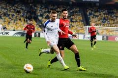 """Kyiv Ukraina †""""November 8, 2018: Spelare i handling under för ligamatch för UEFA Europa Kyiv för dynamo †""""Stade Rennais på NS royaltyfria bilder"""