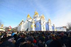 KYIV UKRAINA – JANUARI 26, 2014. Minnes- ceremoni Arkivbilder