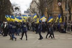 Kyiv Ukraina - 23 av mars 2019: politisk protest mot regering i mitten av huvudstaden av Ukraina royaltyfri fotografi