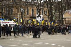 Kyiv Ukraina - 23 av mars 2019: politisk protest mot regering i mitten av huvudstaden av Ukraina arkivbilder