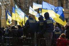 Kyiv Ukraina - 23 av mars 2019: politisk protest mot regering i mitten av huvudstaden av Ukraina royaltyfria bilder