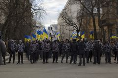 Kyiv Ukraina - 23 av mars 2019: politisk protest mot regering i mitten av huvudstaden av Ukraina arkivfoto