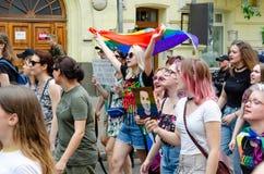 Kyiv Ukraina, Czerwiec, - 23, 2019 Marzec równość LGBT marsz KyivPride homoseksualna parada obrazy stock